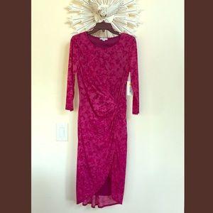 Halston violet waist twist wine marble sheer dress